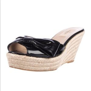 Valentino Patent Leather Espadrille Wedge